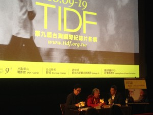 Zhang Xianming interpreting for Claude Lanzmann's extended talk session.