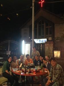 Typical late night communion at an outdoor market, with (left to right) Joanna Wang (secretary of Taipei Documentary Filmmakers' Union), Matsubayashi Yoju (director), Mickey Chen (director, author), Fujioka Asako (producer, programmer, Yamagata Documentary Film Festival board member), Dai Chong-yuan (producer and taxi driver), Wu Yii-feng (director), Wood Lin (TIDFF director), Kite Chen (activist), Markus Nornes (film scholar), and Wu Yao-tung (director).