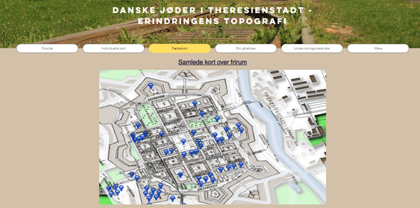 Image of homepage of Danish Jews in Terezin mapping project