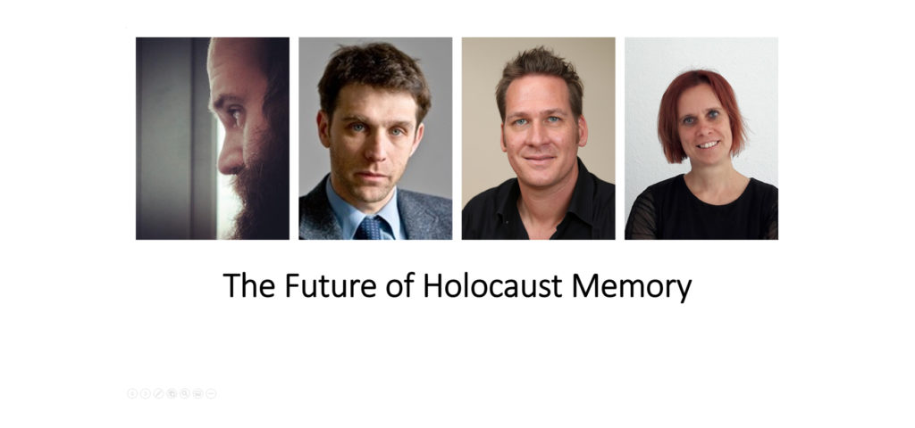 Banner: Photo of speakers with title 'The Future of Holocaust Memory'