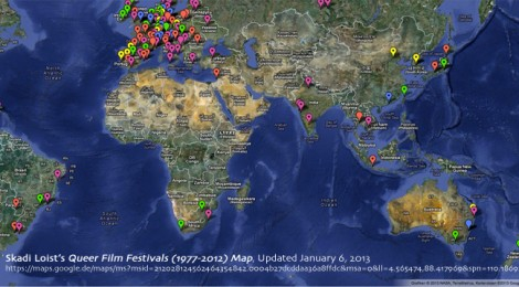 Skadi Loist's Queer Film Festivals (1977-2012) Map, Updated January 6, 2013 https://maps.google.de/maps/ms?msid=212028124562464354842.0004b27dcddaa36a8ffdc&msa=0&ll=4.565474,88.417969&spn=110.186927,228.339844