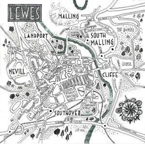 Lewes Map by Helen Cann