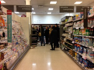 In the Waitrose Saucepan Aisle (photograph by Margaretta Jolly)