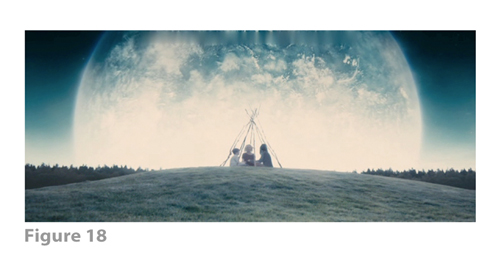 Figure 18: All images from MELANCHOLIA derive from frame grabs from the DVD version of the film: © 2011 Zentropa Entertainments27 ApS, Memfis Film International AB, Zentropa International Sweden AB, Slot Machine SARL, Liberator Productions SARL, Arte France Cinéma, Zentropa International Köln GmbH. DVD: Magnolia Home Entertainment. They appear here solely for Fair Dealing (and Fair Use) purposes of scholarship and criticism.