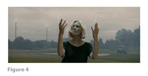 Figure 4: All images from MELANCHOLIA derive from frame grabs from the DVD version of the film: © 2011 Zentropa Entertainments27 ApS, Memfis Film International AB, Zentropa International Sweden AB, Slot Machine SARL, Liberator Productions SARL, Arte France Cinéma, Zentropa International Köln GmbH. DVD: Magnolia Home Entertainment. They appear here solely for Fair Dealing (and Fair Use) purposes of scholarship and criticism.