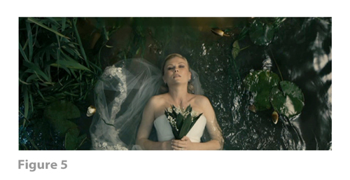 Figure 5: All images from MELANCHOLIA derive from frame grabs from the DVD version of the film: © 2011 Zentropa Entertainments27 ApS, Memfis Film International AB, Zentropa International Sweden AB, Slot Machine SARL, Liberator Productions SARL, Arte France Cinéma, Zentropa International Köln GmbH. DVD: Magnolia Home Entertainment. They appear here solely for Fair Dealing (and Fair Use) purposes of scholarship and criticism.