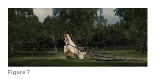 Figure 7: All images from MELANCHOLIA derive from frame grabs from the DVD version of the film: © 2011 Zentropa Entertainments27 ApS, Memfis Film International AB, Zentropa International Sweden AB, Slot Machine SARL, Liberator Productions SARL, Arte France Cinéma, Zentropa International Köln GmbH. DVD: Magnolia Home Entertainment. They appear here solely for Fair Dealing (and Fair Use) purposes of scholarship and criticism.