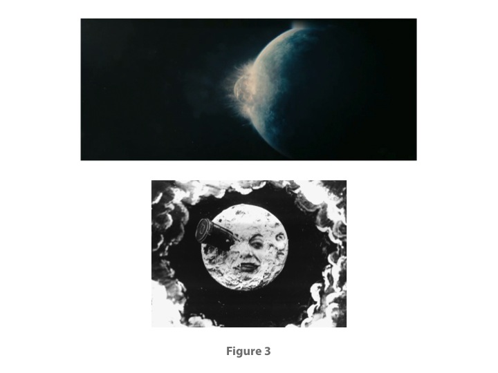 Fig. 3: Upper, from MELANCHOLIA (Lars von Trier, 2011); lower, LE VOYAGE DANS LA LUNE (Georges Méliès, 1902)