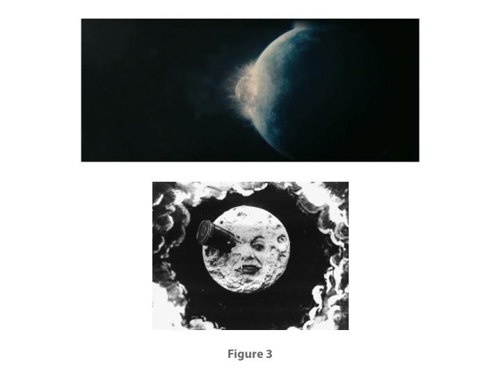 Fig. 3: Upper, from MELANCHOLIA (Lars von Trier, 2011); lower, LE VOYAGE DANS LA LUNE (Georges Méliès, 1902)