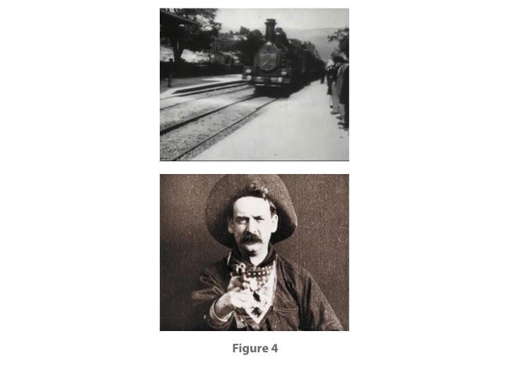 Fig. 4: From L'ARRIVEE D'UN TRAIN EN GARE DE LA CIOTAT (Lumière Brothers, 1896) and THE GREAT TRAIN ROBBERY (Edwin S. Porter, 1903)