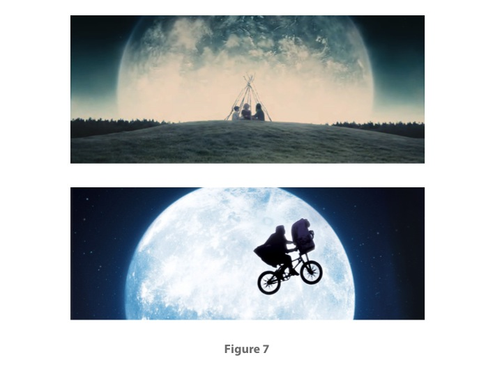 Fig. 7: Upper, from MELANCHOLIA (Lars von Trier, 2011); lower,  E.T. THE EXTRA-TERRESTRIAL (Steven Spielberg, 1982)