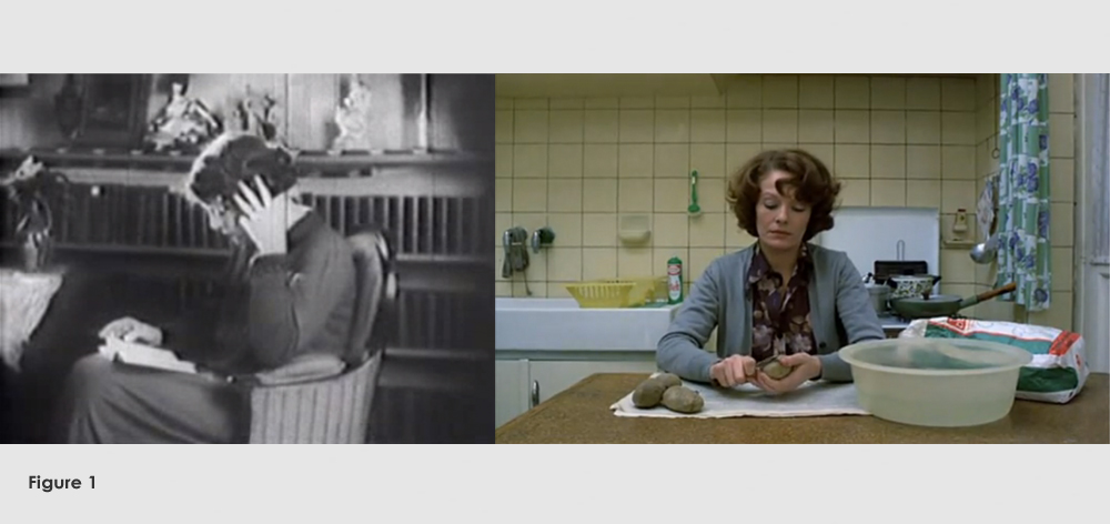 Figure 1: From La Souriante Madame Beudet (Germaine Dulac,1923) and Jeanne Dielman, 23 Quai du Commerce, 1080 Bruxelles (Chantal Akerman,1975)