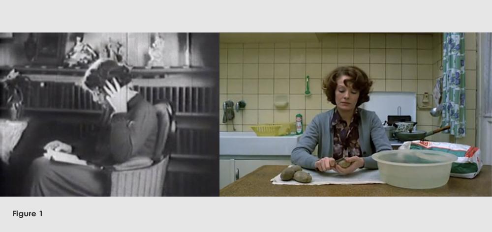 Figure 1: From La Souriante Madame Beudet (Germaine Dulac,1923) and Jeanne Dielman, 23 Quai du Commerce, 1080 Bruxelles (Chantal Akerman,1975)